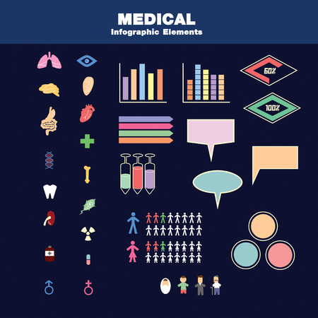 Vector containing many vectors ex. organs  drug equipment and some statistic charts. can use for support your information. Illustration