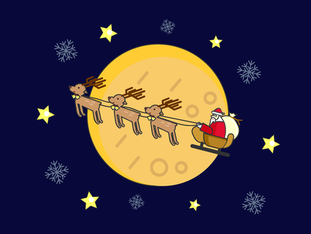 Santa Claus and Reindeer riding the sleigh in Christmas snowy and starry night.