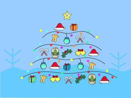 Christmas cute flat elements are built to be a christmas tree by the blue snowy background vector eps10