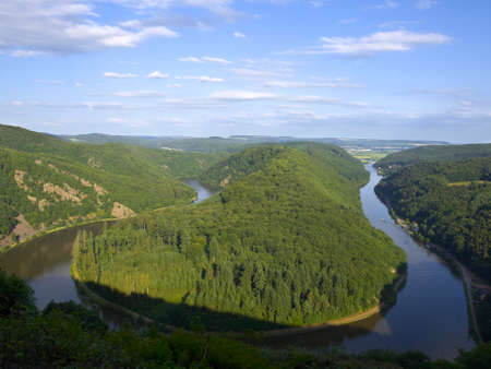 saar: View of a river Saar with  Saarschleife  by city Orscholz , Saarland Germany  Stock Photo