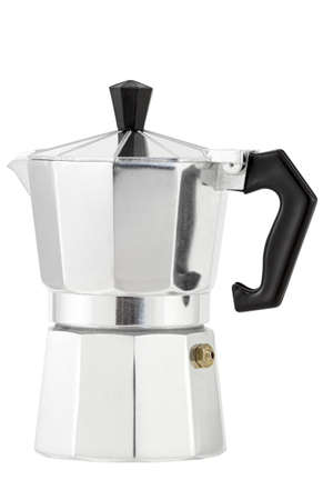 with coffee maker: Italian espresso coffee  Coffee maker  Isolated on white background
