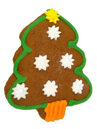 Christmas tree  ginger cake isolated on white    Stock Photo