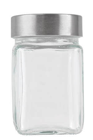 Close up of a glass container isolated on white