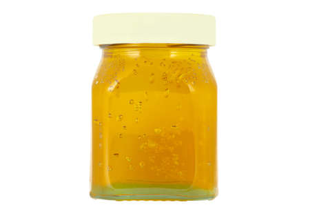 Closed jar  glass  of quince jelly