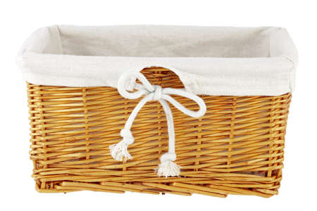 Wicker basket with decoration material  Isolated on white  Isolated with  clipping path  Stock Photo