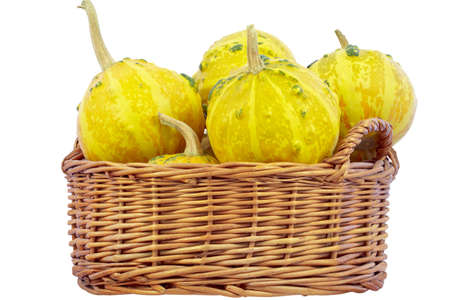 dff image: Decorative pumpkins in the wicker basket, isolated on a white background  Isolated with clipping path  DFF image