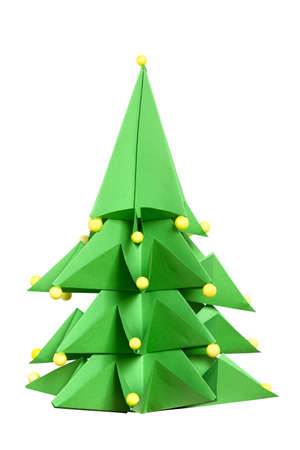 Grenn paper Christmas Tree, Origami  Christmas tree made of paper  Origami evergreen tree  Isolated on white  Isolated with clipping path  DFF image Stock Photo