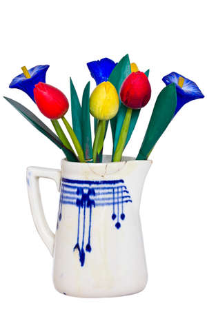 dff image: Wooden flowers in the jug Stock Photo
