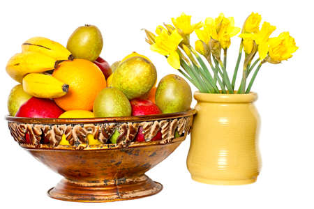 Fruits and Daffodil Stock Photo