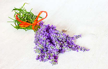 Lavender bouquet on the fabric