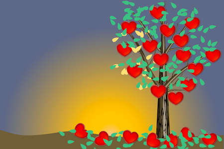 Valentine tree - illustration