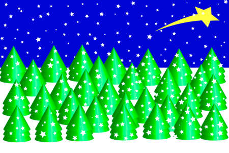 Christmas forest background - Illustration