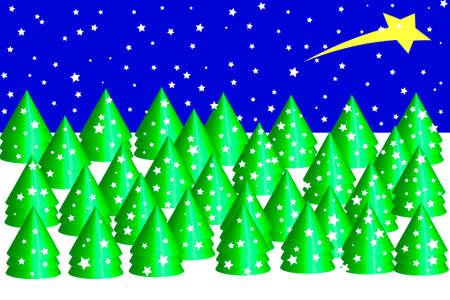 Christmas forest background - Illustration