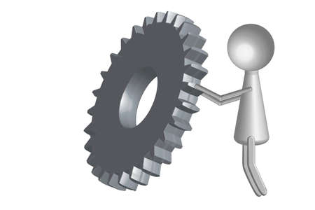 Gear wheel and personage - illustration