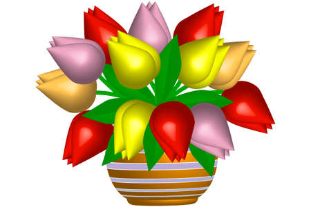 flowerpot: Tulips in flowerpot - illustration