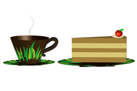 Cup of coffee with cake - Illustration