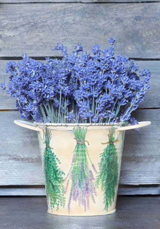 Lavender bouquet in the pail