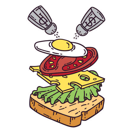 Sandwich with egg. Isolated objects on white background. Vector illustration.