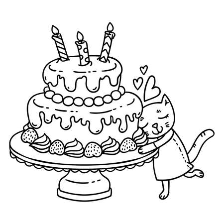 Birthday cake with candle and cute cat. Isolated objects on white background.
