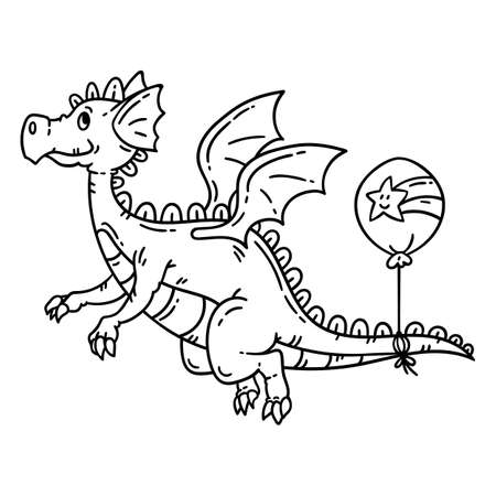 Cartoon flying dragon. Isolated objects on white background.
