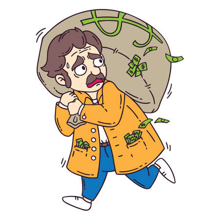 돈 가방과 도둑. 흰색 배경에 고립 된 개체입니다.