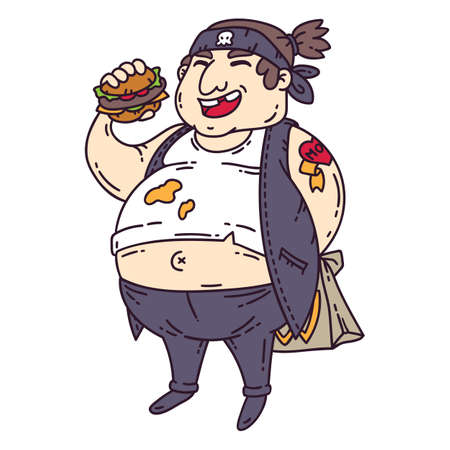 Fat man with burger. Obese character. Cartoon vector illustration. Isolated objects on white background.