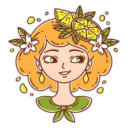 Girl with lemon. Lemonade girl. Isolated objects on white background. Vector illustration.