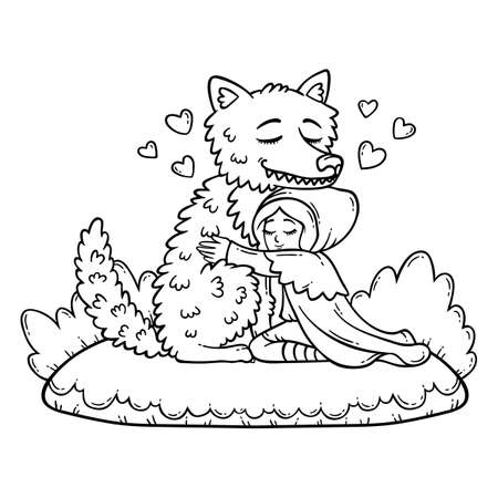 Little Red Riding Hood. Big Bad Wolf and Little Red Riding Hood. Children illustration. Coloring page for children.