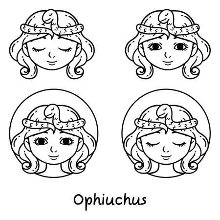 Ophiuchus astrology sign. 13 sign astrology. Set of horoscope signs as women. Zodiac for girls. Vector illustration of astrological signs. Girls with opened and closed eyes. Outline illustration.