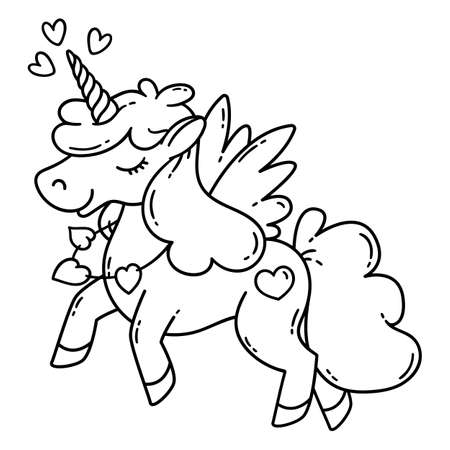 Unicorn with wings and heart icon design Illustration