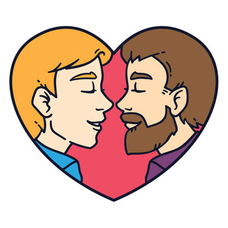Gay couple love. Isolated lovely homosexual spouses on a white background. Equality in rights illustration. Homosexual relationship. Postcard for Valentine's day or wedding invitation. Vettoriali