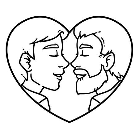 Gay couple love. Isolated lovely homosexual spouses on a white background. Equality in rights illustration. Homosexual relationship. Black and white illustration for coloring. Illustration