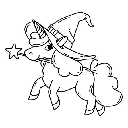 Halloween unicorn with magic wand and witch hat. Cute doodle art of magic creature. Vector illustration isolated on white background. Black and white vector illustration for coloring book.