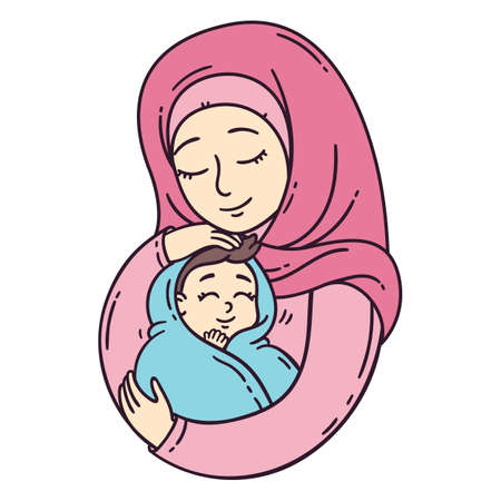 Muslim mother holding baby. The best mom. A pretty mother holds cute baby. Vector illustration isolated on white background.