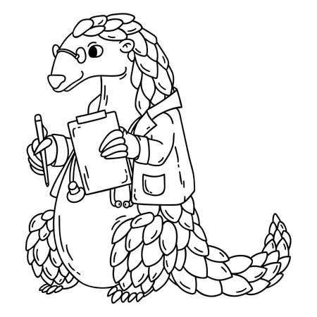 Pangolin the doctor. Isolated objects on white background. Cartoon illustration. Stock Photo