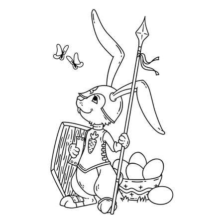 Bunny knight with a lance and shield. Illustration isolated on white background. Page for coloring book, greeting card, print. Hand-drawn illustration. Easter drawing. Stock Photo