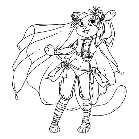 Cute cat woman belly dancer. Illustration isolated on white background. Illustration for coloring books.