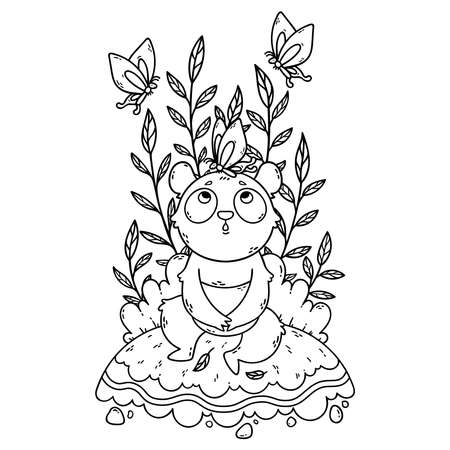 Cute little panda bear sitting in a meadow and butterflies are flying around. Cute vector illustration for coloring book.