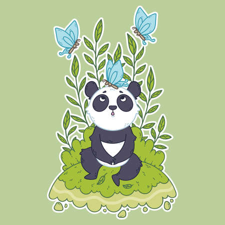 Cute little panda bear sitting in a meadow and blue butterflies are flying around. Cute illustration for children. Iillustration for posters, cards, t-shirts.