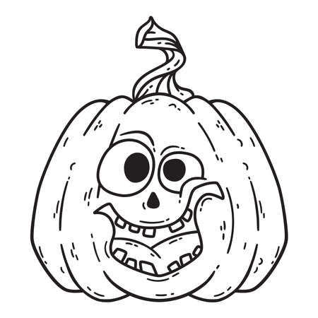 Halloween smiling pumpkin. Pumpkinhead jack. Vector illustration isolated on white background. Use for printing, posters, t-shirt design, postcards.  Black and white illustration for coloring book.