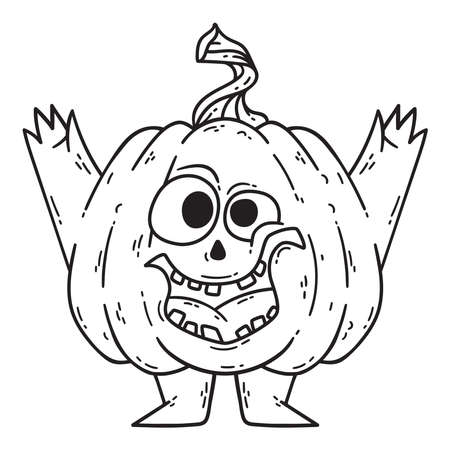 Halloween smiling pumpkin with hands and legs. Pumpkinhead jack. Illustration isolated on white background. Use for printing, posters, t-shirt design, postcards. Illustration for coloring book. Stok Fotoğraf