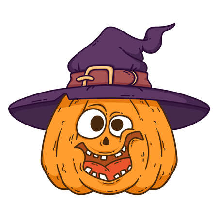 Halloween smiling pumpkin. Pumpkin with witch hat. Pumpkinhead jack. Illustration isolated on white background. Use for printing, posters, t-shirt design, postcards.