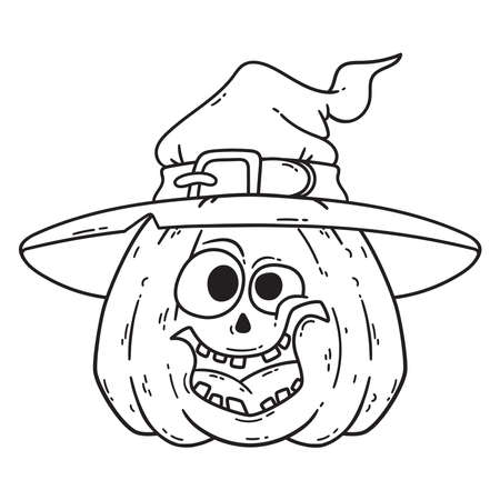 Halloween smiling pumpkin. Pumpkin with witch hat. Pumpkinhead jack. Illustration isolated on white background. Use for printing, posters, t-shirt design, postcards. For coloring book. Stok Fotoğraf