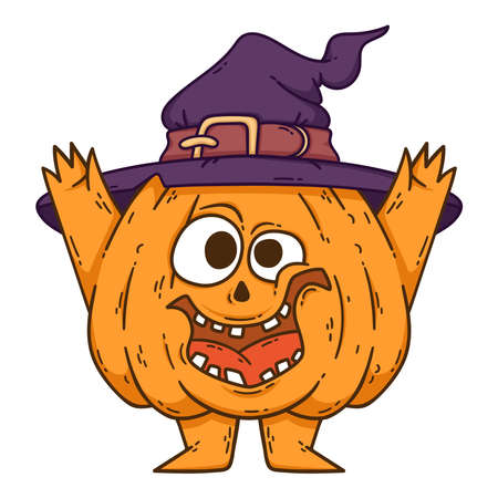 Halloween smiling pumpkin with hands and legs. Pumpkin with witch hat. Pumpkinhead jack. Illustration isolated on white background. Use for printing, posters, t-shirt design, postcards. Stok Fotoğraf
