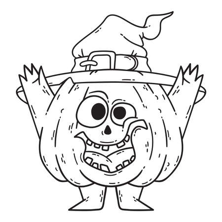 Halloween smiling pumpkin with hands and legs. Pumpkin with witch hat. Pumpkinhead jack. Illustration isolated on white background. Black and white illustration for coloring book.