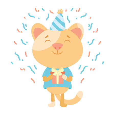 Birthday greeting card with a cat. Cute kitty cat vector illustration. Congratulations on birthday. A cat in a festive cap with present. Postcard backdrop.