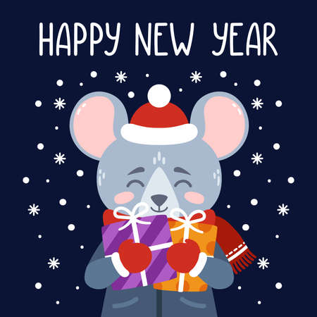 The rat holds New Years gifts. The symbol of the Chinese New Year 2020. Greeting card with a mouse for the New Year. Vector illustration with cute character. Hand drawn lettering. Scandinavian style. Çizim
