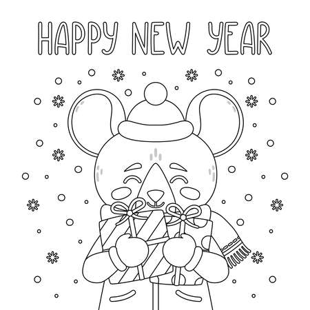 The rat holds New Year gift. The symbol of the Chinese New Year 2020. Greeting card with a mouse for the New Year. Vector illustration with cute character. Page for coloring book. Outline drawing.