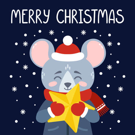 The rat with a yellow star. The symbol of the Chinese New Year 2020. Xmas greeting card, poster design. Vector illustration with cute character. Merry Christmas hand drawn lettering quote. Çizim