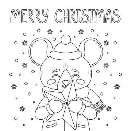 The rat with a star. Greeting card with a mouse for the Christmas. Vector illustration with cute character. Merry Christmas hand drawn lettering quote. Page for coloring book. Outline drawing. Çizim